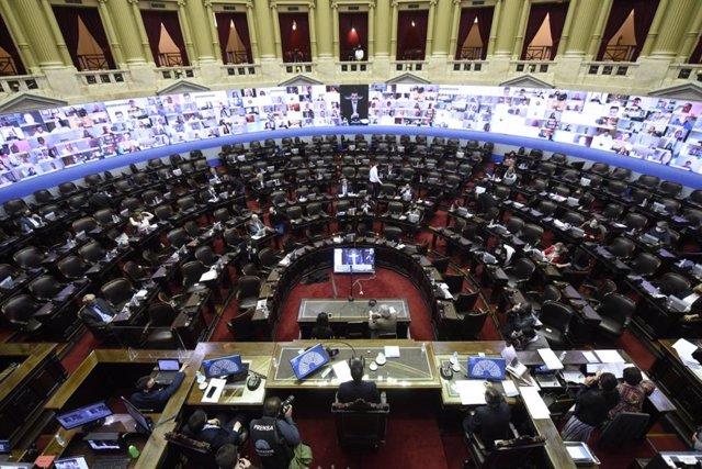 Archivo - Sesión telemática en la Cámara de Diputados de Argentina.