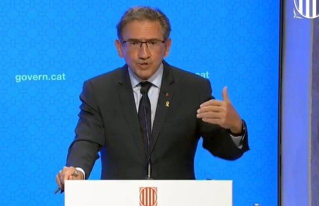 El conseller d'Economia i Hisenda de la Generalitat, Jaume Giró, en la conferència de premsa posterior al Consell Executiu