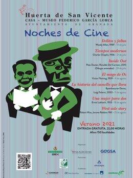 Cartel del programa de cine en la Huerta de San Vicente para este verano.