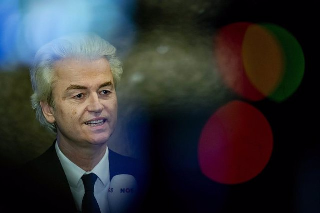 Archivo - 17 March 2021, Netherlands, Den Haag: Geert Wilders, leader and sole member of the Party for Freedom (PVV), speaks to the media after the results of the parliamentary elections. Dutch Prime Minister Mark Rutte and his right-wing liberal VVD part