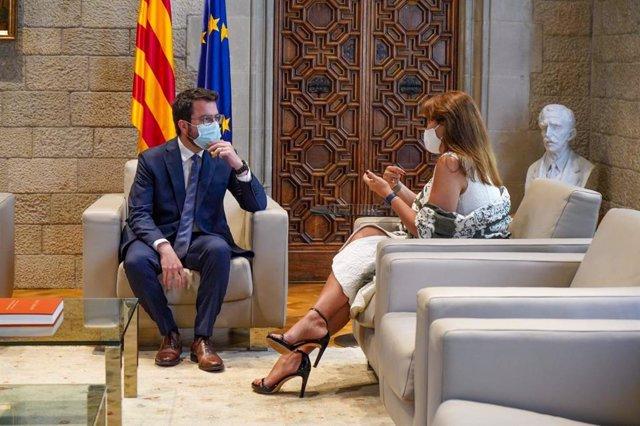 Reunió del president del Govern, Pere Aragonès, i la presidenta del Parlament, Laura Borràs, a la Generalitat
