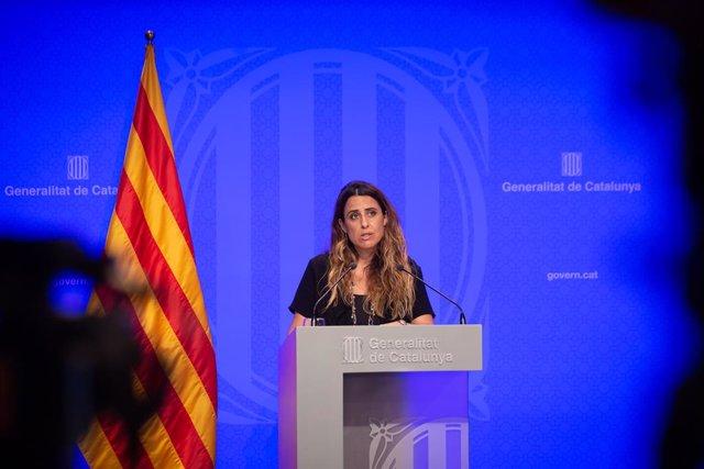 Arxiu - La portaveu del Govern de la Generalitat, Patrícia Plaja, en una conferència de premsa