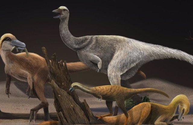Reconstrucción de cuatro alvarezsaurios: Haplocheirus sollers (izqda), Patagonykus puertai (parte superior media), Linhenykus monodactylus (parte inferior media) y Bannykus wulatensis (parte inferior derecha), que ilustra tamaño corporal y cambio de dieta