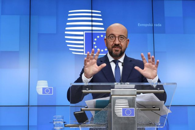 HANDOUT - 25 June 2021, Belgium, Brussels: President of the European Council Charles Michel speaks during a press conference after a two-days European Union summit at the European Council. Photo: Dario Pignatelli/European Council/dpa - ATTENTION: editoria