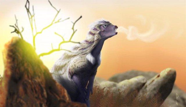 Reconstrucción de la vida de Heterodontosaurus vocalizando en una fresca mañana del Jurásico.