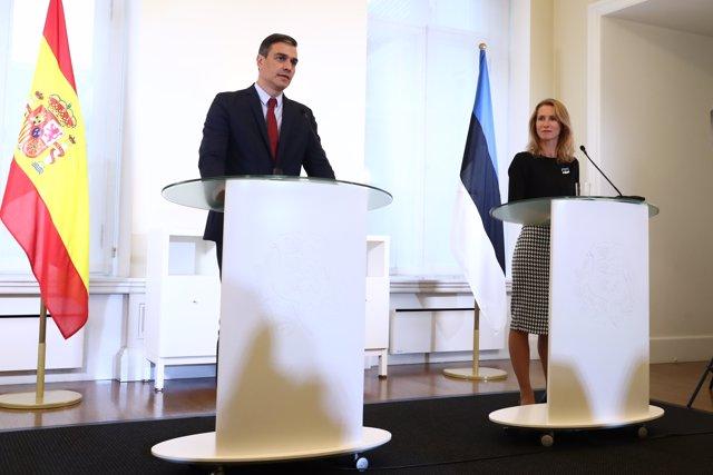 Sanchez, durante la rueda de prensa con la primera ministra de Estonia