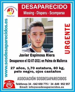 Javier Espinosa Riera, desaparecido en Palma.