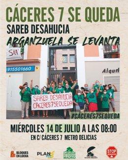 Cartel de una concentración contra un desahucio en Arganzuela.