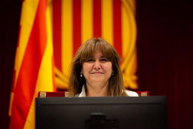 Archivo - Arxiu - La presidenta del Parlament, Laura Borràs, en el ple del Parlament
