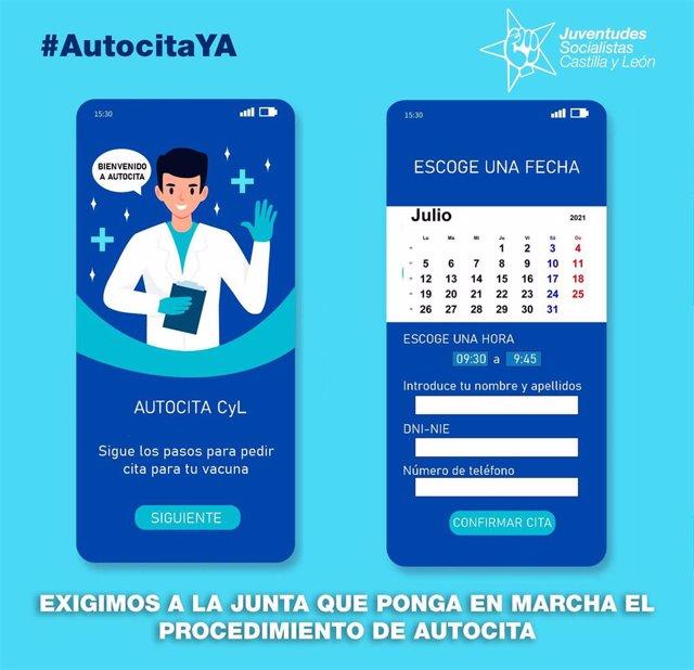 Cartel de JSE-CyL para reclamar un sistema de autocitas para la vacunación de menores de 30 en Castilla y León.
