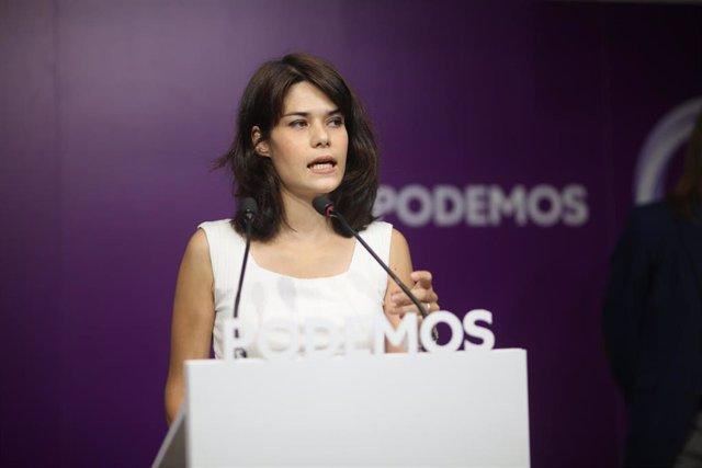 La exportavoz de Podemos en la Asamblea de Madrid Isa Serra interviene en una rueda de prensa tras conocer que el Supremo ratifica su condena a 19 meses de cárcel, a 5 de julio de 2021, en Madrid, (España).