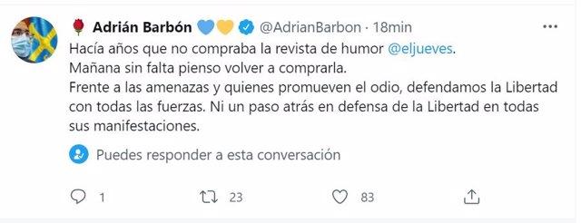 Twitter de Adrián Barbón.