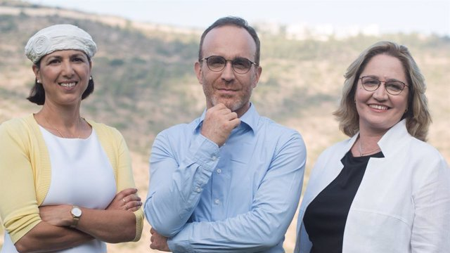 Aleph Farms' leadership team. From left to right: Technion Professor Shulamit Levenberg, Co-Founder and Chief Scientific Adviser; Didier Toubia, Co-Founder and Chief Executive Officer; Dr. Neta Lavon, Chief Technology Officer and Vice President of R&D. Cr
