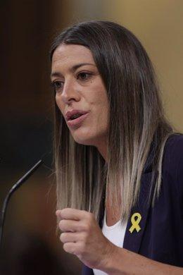 La portavoz de Junts per Catalunya, Miriam Nogueras, interviene en una sesión de control al Gobierno en el Congreso