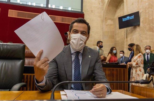 El presidente de la Junta de Andalucía, Juanma Moreno, comparece a petición propia para informar sobre la situación de Andalucía, a 07 de julio del 2021 en   Sevilla (Andalucía)