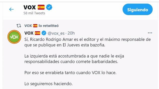 Tuit de Vox sobre el editor de 'El Jueves'