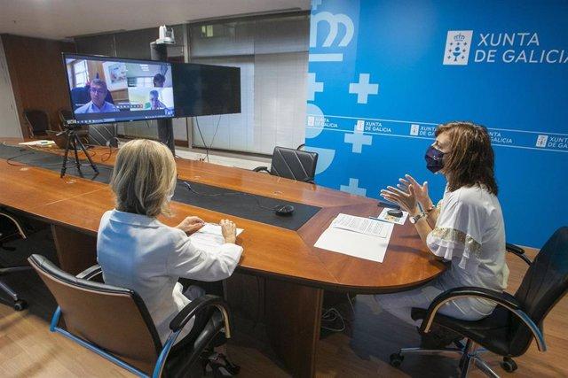 La conselleira de Medio Ambiente, Territorio e Vivenda, Ángeles Vázquez, y el secretario de Estado de Medio Ambiente, Hugo Morán, mantienen una reunión por videoconferencia