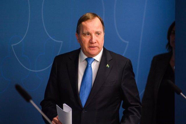 Archivo - 31 March 2020, Sweden, Stockholm: Stefan Lofven, Prime Minister of Sweden, arrives for a press conference regarding the coronavirus crisi. Photo: Maxim Thore/Bildbyran via ZUMA Press/dpa