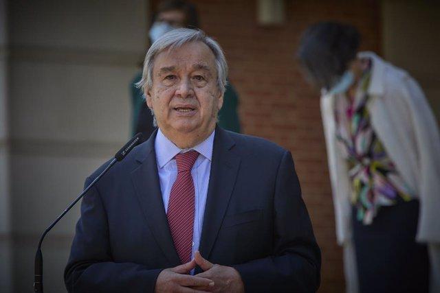 El secretario general de Naciones Unidas, Antonio Guterres, interviene en una rueda de prensa posterior a una reunión con el presidente del Gobierno, 2 de julio de 2021, en el Palacio de La Moncloa, Madrid. (España). El encuentro entre ambos mandatarios s