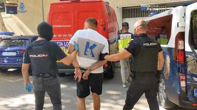 Policía Nacional durante el operativo en el que han detenido a casi una decena de intengrantes de una organización criminal dedicada al hurto