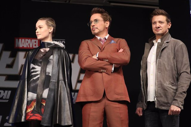 Archivo - 15 April 2019, South Korea, Seoul: American actress Brie Larson (L-R), American actor Robert Downey, Jr and American actor Jeremy Renner attend a press conference on the new Avengers movie titled 'Avengers: End Game'. Photo: -/YNA/dpa