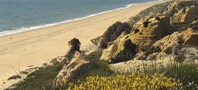 Archivo - Playa de la costa de Huelva.