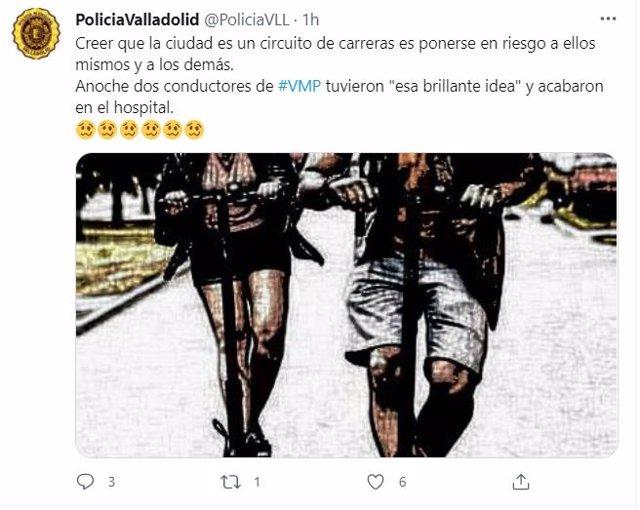 Tuit de la Policía Municipal de Valladolid sobre el accidente de dos jóvenes en patinete.