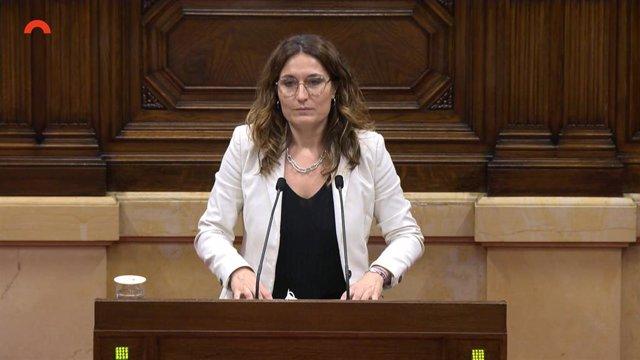 La consellera de Presidencia de la Generalitat, Laura Vilagrà, en el pleno del Parlament el 7 de julio.