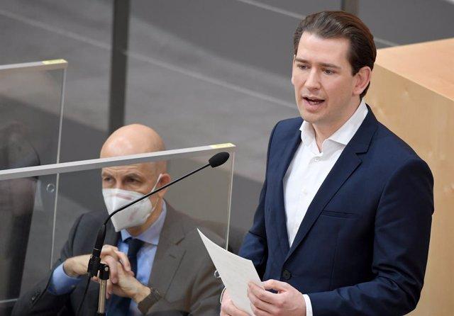 Archivo - El canciller de Austria, Sebastian Kurz, durante una sesión del Parlamento.