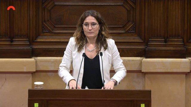 La consellera de Presidència de la Generalitat, Laura Vilagrà, al Parlament
