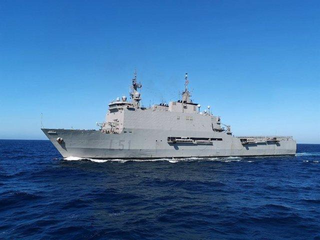 El Buque de Asalto Anfibio 'Galicia' de la Armada.