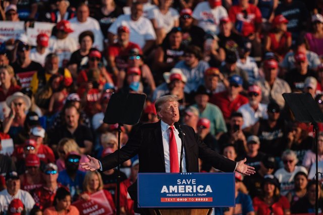 26 June 2021, US, Wellington: Former US President Donald Trump speaks during his first Save America Rally held at the Lorain County Fairgrounds. Photo: Andrew Dolph/ZUMA Wire/dpa
