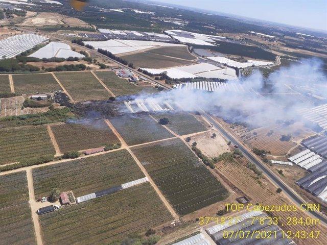 Imagen aérea de un incendio en Cartaya.