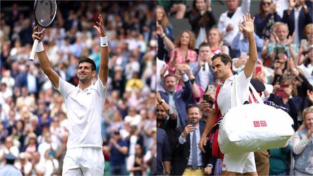 Novak Djokovic y Roger Federer en Wimbledon