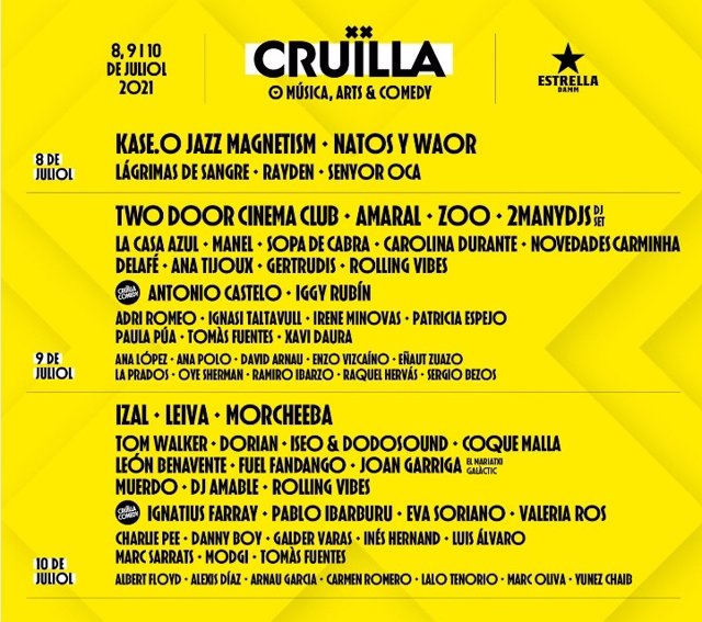 Cartel del Festival Cruïlla, que inicia el 8 de julio una edición sin distancia de seguirdad que prevé acoger a 25.000 personas al día