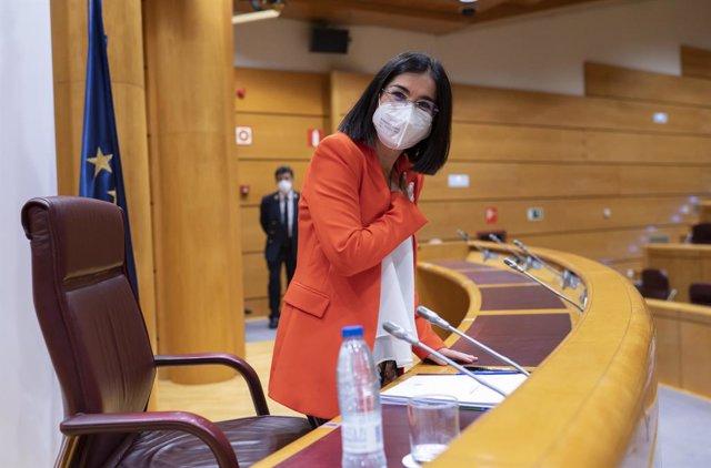 Archivo - Arxivo - La ministra de Sanitat, Carolina Darias, a la seva arribada per oferir  una roda de premsa després de la celebració del primer Consell Interterritorial del Sistema Nacional de caràcter presencial des que va començar la pandèmia, a 30 de