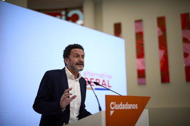 El vicesecretario general de Ciudadanos y portavoz en el Congreso, Edmundo Bal, durante una rueda de prensa en la sede nacional del partido.