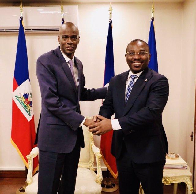 Archivo - El presidente de Haití, Jovenel Moise, y el recién nombrado primer ministro, Claude Joseph