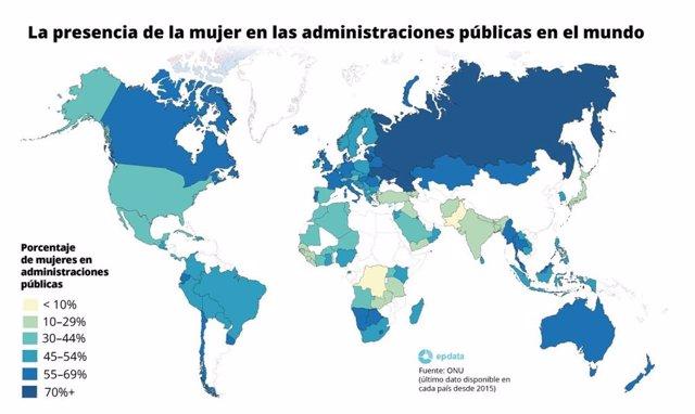 Presencia de la mujer en las administraciones públicas en el mundo según el informe de la ONU 'Gender equality in public administration'