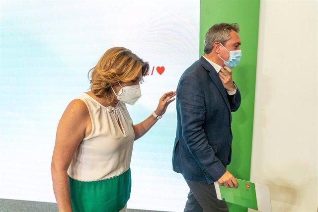 El candidato del PSOE-A a la presidencia de la Junta, Juan Espadas, y la secretaria general del PSOE-A, Susana Díaz, en una foto de archivo.