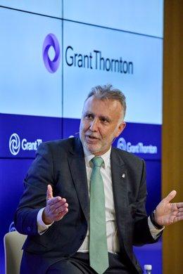 El presidente de Canarias, Ángel Víctor Torres, durante su intervención en la jornada 'Fondos Europeos: Tiempo para la Acción', organizada por Grant Thornton