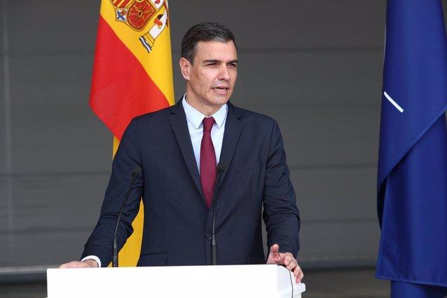 El presidente del Gobierno, Pedro Sánchez, durante su visita a Lituania