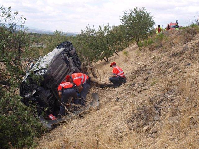 Archivo - Accidente de tráfico ocurrido en 2012 en la AP-68 en Corella (Navarra) en la que murieron dos hermanos menores de edad, un bebé y un niño de 4 años