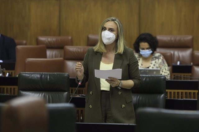 La consejera de Fomento, Marifrán Carazo, en el Parlamento andaluz, en foto de archivo
