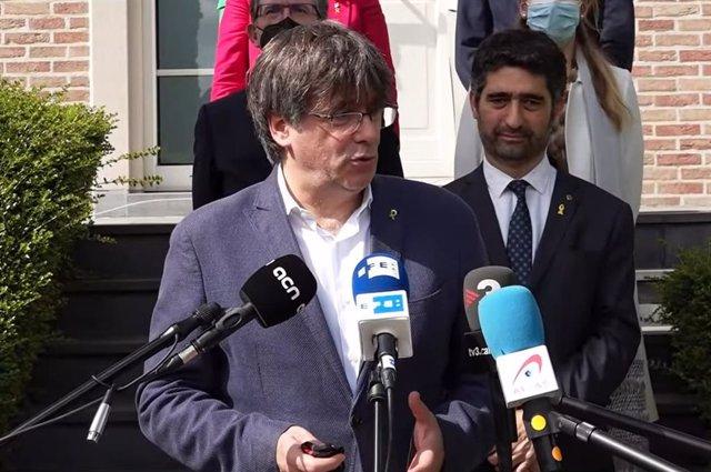 El líder de Junts, Carles Puigdemont, i el vicepresident de la Generalitat, Jordi Puigneró
