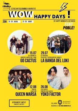 Programación de conciertos de 'WOW Happy Days', en Marratxí.