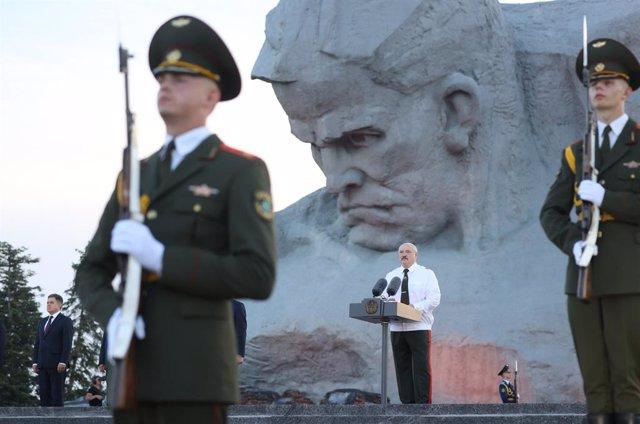 Alexander Lukashenko, presidente de Bielorrusia, durante un acto público