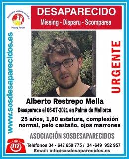 Alberto Restrepo Mella, desaparecido en Palma este martes.