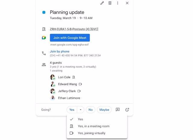 Asitencia presencial o virtual en reuniones del Calendario de Google.