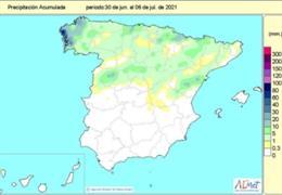 El valor medio nacional de las precipitaciones acumuladas desde el pasado 1 de octubre de 2020 hasta el 6 de julio de 2021 es de 524 litros por metro cuadrado